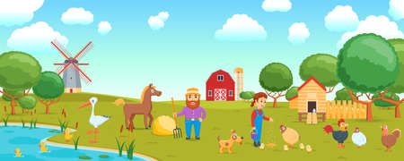 cartoon birds on  farm banner