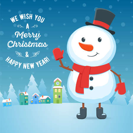 Cartoon snowman on city background. Christmas holiday greeting card. Vector illustration Illustration