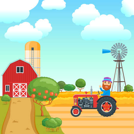 Cartoon concept on a agricultural theme. Rural scene with people and fruit trees. A man riding a tractor in the background of a wheat field. Vector illustration