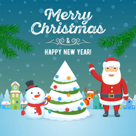 Santa Claus, snowman and christmas tree on town background. Christmas holiday greeting card. Vector illustration Illusztráció