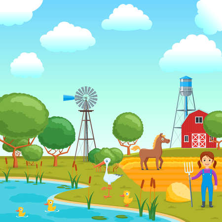 Cartoon concept on a agricultural theme. Rural scene with lake and field. Vector illustration