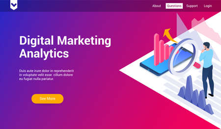 Isometric landing page template for digital marketing analytics. Vector illustration mock-up for website and mobile website