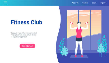 Modern landing page template for fitness club. Vector illustration mock-up for website and mobile website