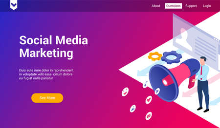 social media marketing 3d template Illustration