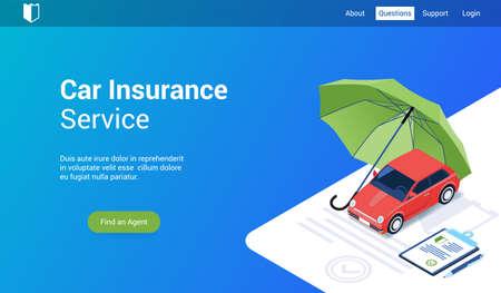 Isometrische Zielseitenvorlage für Autoversicherungen. Vektorillustrationsmodell für Website und mobile Website Vektorgrafik
