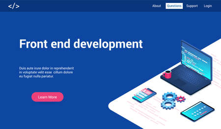 Isometric landing page template for front end development. Vector illustration mock-up for website and mobile website