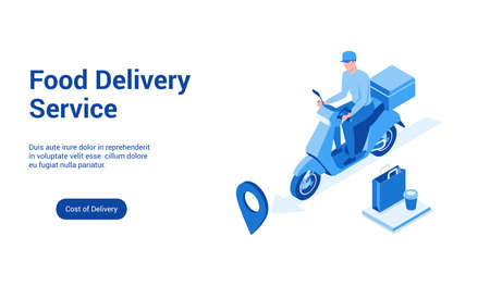 Isometric landing page template for food delivery. Vector illustration mock-up for website and mobile website