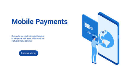 Isometric landing page template for mobile payments. Vector illustration mock-up for website and mobile website