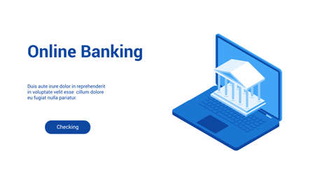Isometric landing page template for online banking. Vector illustration mock-up for website and mobile website Archivio Fotografico - 125014184