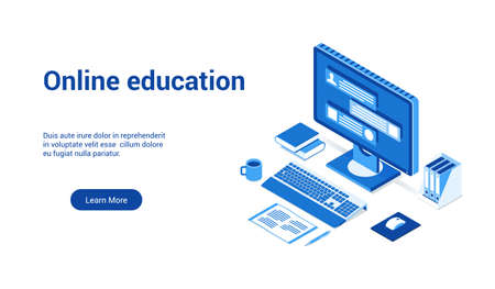 online education 3d lp template 2 Illustration