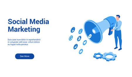 social marketing 3d template 2 Vector Illustration