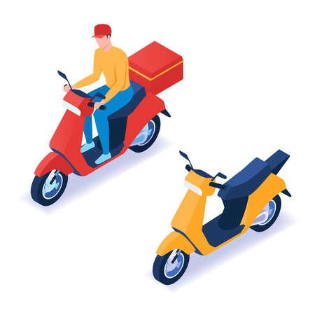 Uomo che consegna la pizza in scooter. Illustrazione vettoriale isometrica Vettoriali