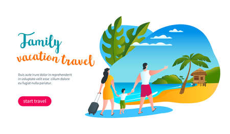 Young family walking along a tropical beach to a bungalow. Family vacation travel. Modern vector illustration Illusztráció