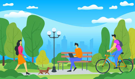 City park concept. A man sits on a bench, woman walks a dog, a cyclist