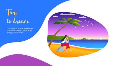Dreaming girl sitting on the ocean shore. Time to dream concept. Modern vector illustration
