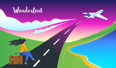 Girl sits on a suitcase and looks at the plane taking off. Adventure Wanderlust Concept. Modern vector illustration