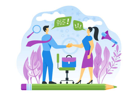 We are hiring concept. The boss congratulates the new worker on the employment. Vector flat illustration Ilustração