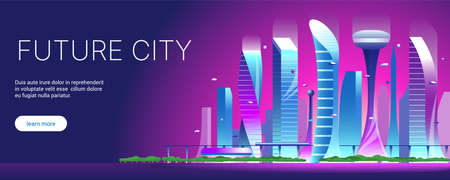 Futuristic night cityscape. Vector flat illustration of city with buildings, cars and trees