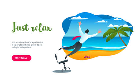 Man jumps from office to ocean shore. Just relax concept. Modern vector illustration