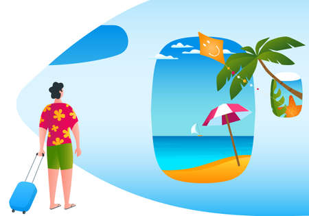 Man walking along a tropical beach. a man comes on the plane. Ready for vacation. Modern vector illustration