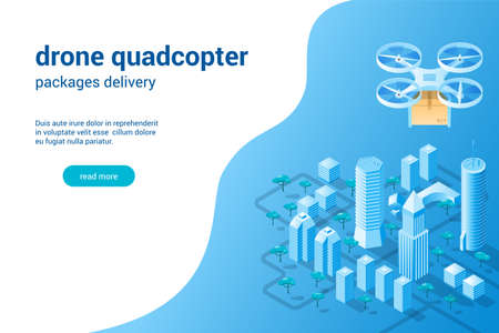Quadcopter with the package concept Illustration