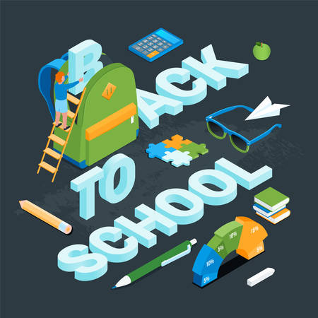 Back to school Isometric concept 11 Иллюстрация