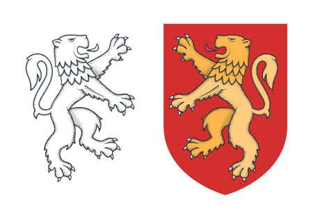 Vintage heraldic rampant lion