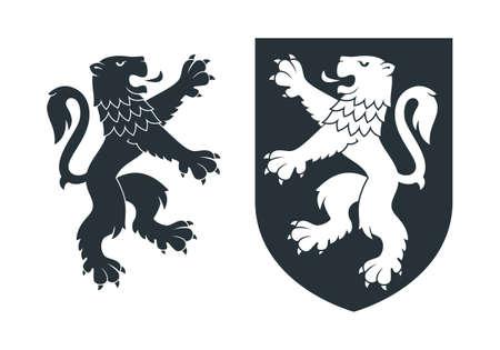Black heraldic rampant lion 02