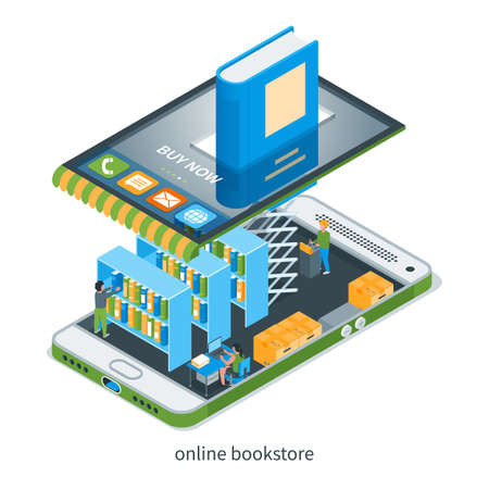 Online bookstore concept. Store, mobile phone and books. Images of children and miniature people. Isometric vector illustration Illusztráció