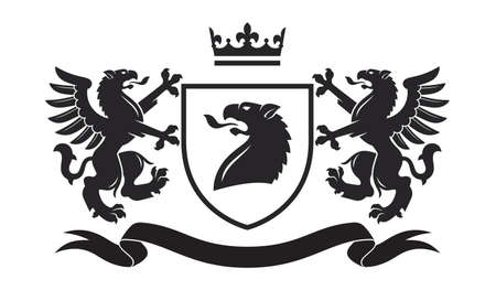 Coat of the arms. Vector illustration of black griffins and shield. Vintage design heraldic symbols and elements