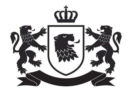 Coat of the arms. Vector illustration of black lions and shield. Vintage design heraldic symbols and elements