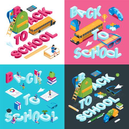 Back to school concepts set 01 Иллюстрация