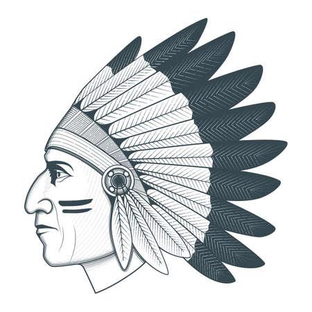 Ilustración de cabeza de jefe nativo americano