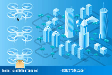 Realistic drones set plus cityscape. Drone delivery, photo and video. Isometric vector illustration