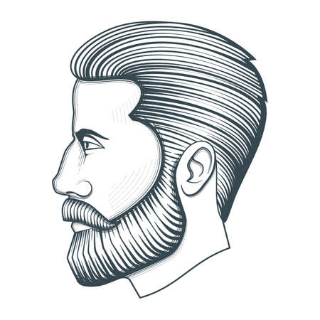 Bearded man head. Vintage vector illustration on white background Foto de archivo - 129993727