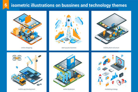 Isometric design illustrations on bussiness and technolodgy theme. Online shopping, start up your business, mobile phone structure, mobile app development, online bookstore, marketing strategy. Vector illustration mock-up for website and mobile website. Landing page templates 写真素材 - 129993350