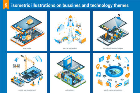 Isometric design illustrations on business and technology theme. Online shopping, start up your business, mobile phone structure, mobile app development, online bookstore, marketing strategy
