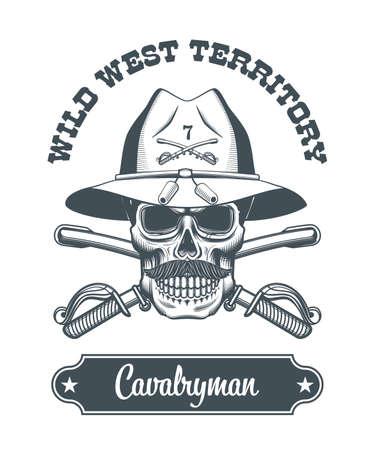 cavalryman skull   illustration