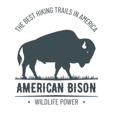 Vintage hand drawn bison emblem