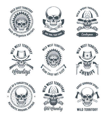 Vintage wild west concepts with skulls. Monochrome realistic vector illustrations