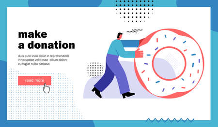 Make a donation, website landing page. Man rolls a donut. Template for blog channel. Cartoon flat vector illustration