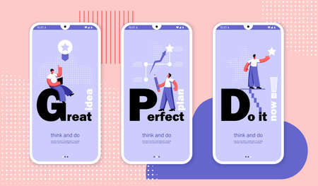 Think and do concepts. Great idea, perfect plan, do it now. Mobile app page set templates. Flat Vector Illustration