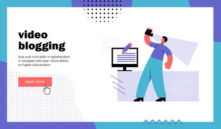 Video blogging, website landing page. Man shoots himself on camera. Template for blog channel. Cartoon flat vector illustration Illustration