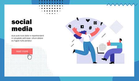 Social media, website landing page. Dancing woman and man showing thumbs up. Template for blog channel. Cartoon flat vector illustration Ilustração
