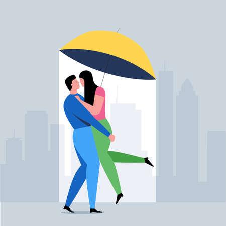 Romantic couple concept. Man and woman kissing under an umbrella. Romantic date cartoon banner. Flat Vector Illustration Ilustrace