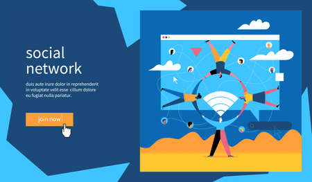 Social network banner. People holding hands forming a circle. Flat Vector Illustration