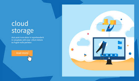 Cloud storage banner. Man puts boxes in the cloud. Flat Vector Illustration