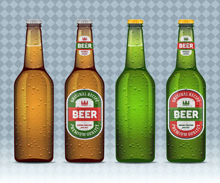 Realistic wet beer bottles with and without labels. Green and brown glass bottles isolated on transparent background. Mock up template. Vector illustration