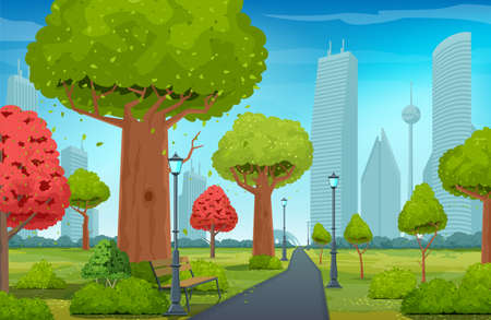 Beautiful summer park. Urban public space with walkway and trees for walking and relaxing. Modern city buildings in the background. Realistic vector illustration