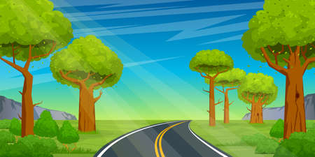 The road goes into the distance through the forest on a background of a beautiful summer landscape. Cartoon vector illustration Illustration